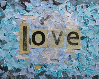 Love Collage Art Notecards -- Single or Set of 5 -- Blank Inside -- Envelopes Included