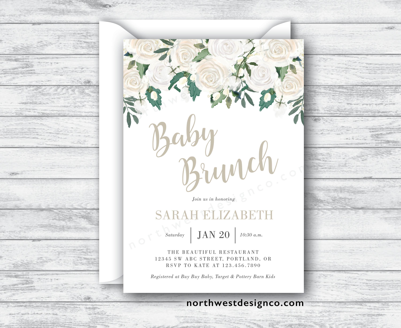 Beige Green Floral Baby Brunch Invitation Baby Shower Invite