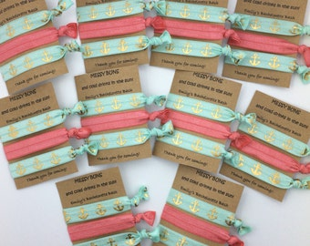 Bachelorette Hair Tie Favor - Beach Party, Pool Party, Flamingo, Survival Kit, Party Favor, Bridal Party Gifts, Elastic Hair Tie, Creaseless