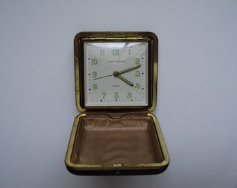Vintage Phinney Walker German Made Travel Alarm Clock in Folding Leather Case