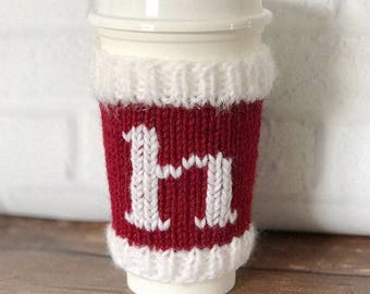 Christmas Coffee Cozy, Santa Cup Sleeve, Knit Coffee Sleeve, Christmas Decor, Stocking Stuffer, Cup Cozy, Teacher Gift, Hostess Gift