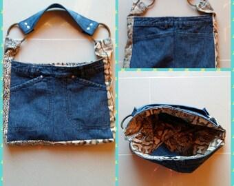 Handbag denim snakefabric