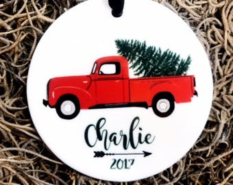 Personalized Christmas Ornament Grandparents Ornament Holiday Ornament Ryelle Ceramic Ornament Chistmas Ornament Truck Ornament Baby RyElle