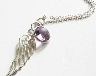 Angel Wing Necklace, Amethyst Sterling Silver, 24 inch Long Chain flat cable layering necklace