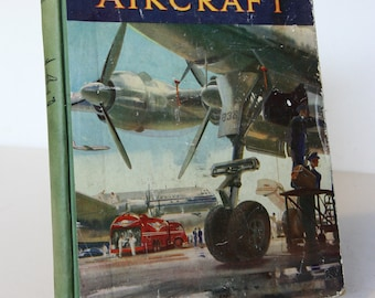 Aircraft Wonder Book Illustrated Vintage Hardback Childrens Transport Aviation Colour plates