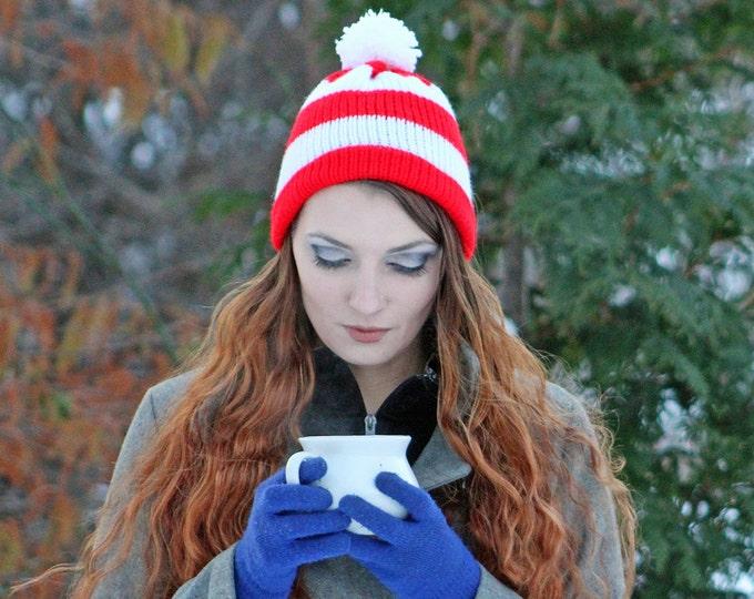 The Waldo Beanie Hat Red and White Striped Pom Pom Winter Christmas Gift Ready to Ship