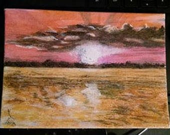 """OOAK """"End's Day"""" Acrylic Painting ~ 5"""" X 7"""""""
