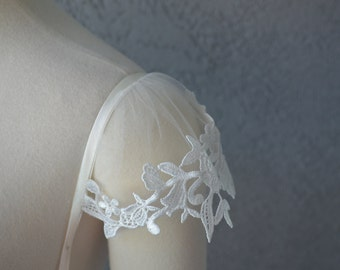 Set of Two Detachable Illusion Ivory Tulle And Lace Applique Straps Cap Sleeves to Add to your Wedding Dress it Can be Customize