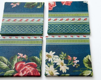 Blue and Pink Floral Fabric Drink Coasters Two different Designs 4 Coasters Perfect for a Cottage Decor