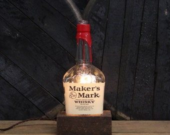 Maker's Mark Bourbon Bottle Lamp - Desk Lamp, Handmade Table Lamp, Office Furniture, Edison Bulb Lamp, Kentucky Whisky, Fathers Day Gifts