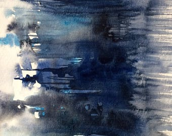 Blue abstract, contemporary painting, abstract Painting, abstract watercolor, monochrome painting, wet in wet painting, contemporary art