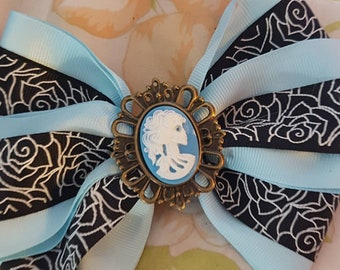 Lolita Steampunk skull cameo blue with roses.Hair bow.