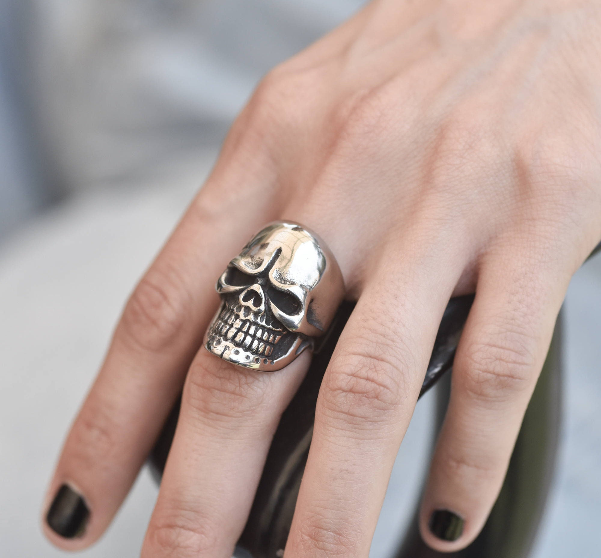 womens silver skull ring skull silver rings for women unique