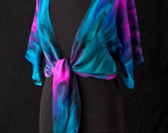 Silk Shrug Jacket, Hand Dyed Hand Painted, Party Time