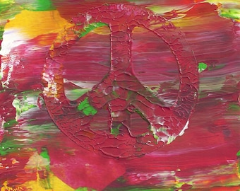 Original Acrylic Abstract Peace Hippie Painting Fine Art in Double White Mat by Ryan O'Neill