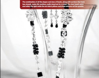 Tutorial Black Tie Glamour Necklace and Earrings, Black, Transparent Beads, Drop Beads