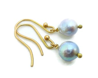 Gold and Pearl Drop Earrings - 18k akoya round grey blue baroque minimalist classic modern casual bridal bridesmaid gift for her under 100