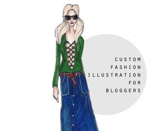 Custom Portrait, Custom Fashion Illustration, Bespoke Gift, Custom Gift, Handmade illustration, Custom Illustration, Digital File