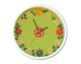 Modern Wall Clock, Paper Quilling Home Decoration, Floral Clock, Wall decor, Wall Art, Flower wall decoration, Paper anniversary gift
