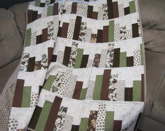 Green and Brown Throw Quilt