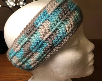 Blue and grey earwarmers