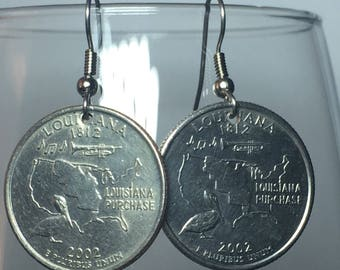 2006 Louisiana Quarter Earrings Free Gift Bag 12 Year Anniversary 12th Birthday Birthplace Birth State