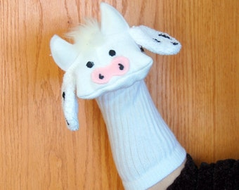 Cow Sock Puppet by Puppets by Margie