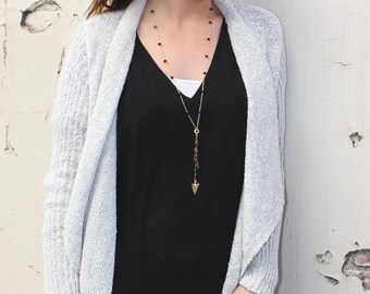Black Onyx Convertible Charm Necklace