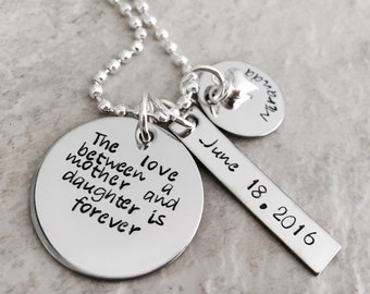 The Love Between A Mother And Daughter Is Forever hand stamped personalized necklace