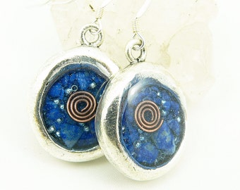 Orgone Energy Earrings - Wax Seal Look Earrings - Dangle Earrings - Lapis Lazuli Gemstone - Artisan Jewelry