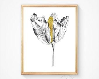 Home decor, Gold foil, Wall art, Gold flower Poppy prin, Poppy art Modern, Print, Printable, Wall art Poppy flower print, Downloadable print