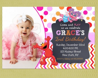 Elmo and Abby Cadabby Sesame Street Birthday Invitation, Elmo Birthday Invitations for girl, Sesame Street Invitations