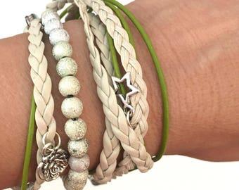 Beaded Leather Boho Bracelet, Wrap Bracelet, Wrap Beaded Leather Bracelet, Women's Boho wrap bracelet, bohemian wrap bracelet cuff