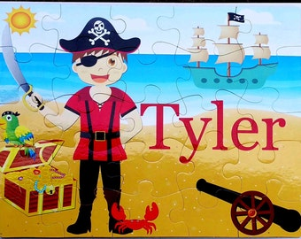 "Pirate Personalized Puzzle 25 pc. Custom , 11""x14""  Bright colors with Treasure chest, cannon, parrot, pirate ship, beach and red crab"