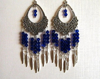 Long Cobalt Blue Crystal Filigree Chandeler Earrings Long Silver Blue Chandelier Earrings