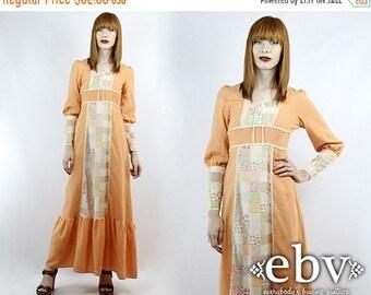 Vintage Hippie Dress Hippy Dress Boho Dress Festival Dress Vintage 70s Maxi Patchwork Dress XS S