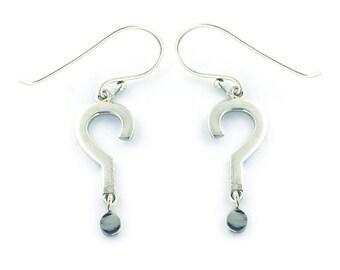 Sterling Silver Dangle Question Mark Earrings