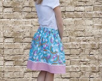 Blue  Unicorns and Rainbows  Skirt (18 mos, 2T, 3T, 4T, 5, 6, 7, 8, 10)