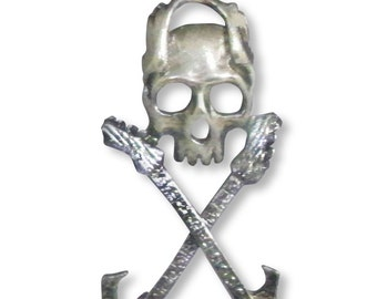 Skull with Crossed Guitars Silver Finish Pewter Pendant Necklace NK-115