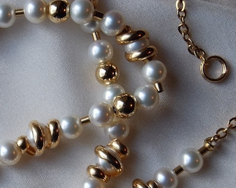 Strand of Pearls Freshwater Pearl necklace Gold filled accent beads adjustable clasp Woman's wedding