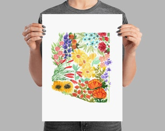 Arizona Wildflowers Watercolor Painting Print AZ State Art Home Decor Desert Botanical Floral