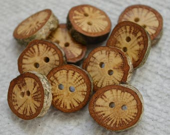 "Wood buttons wooden buttons Oak Tree branch buttons crochet buttons cowl buttons Qty of 10....3/4"" buttons  lot #7"