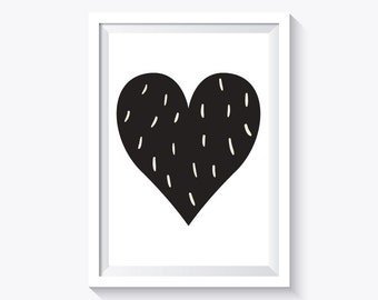 Black heart Print, Black and white, nursery print decor, heart print, valentine's day print, instant download