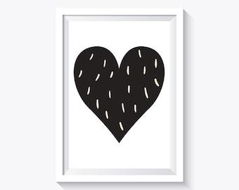 Black heart Print, Black and white, nursery print decor, heart print, valentine's day print, instant download