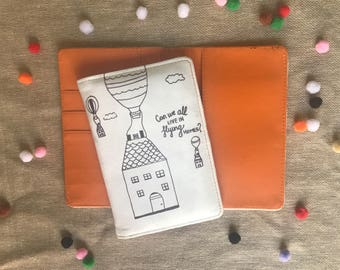 Live in flying home illustrated passport cover made if suede