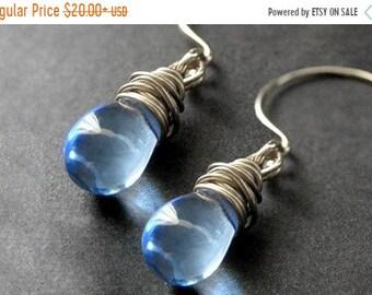 SUMMER SALE Wire Wrapped Earrings: Blue Teardrops in Silver - Elixir of Raindrops. Handmade Earrings.