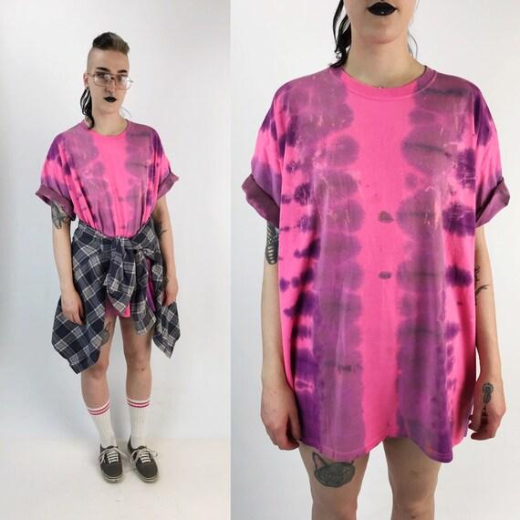Tie Dye Pink & Purple Short Sleeve Shirt XXL Plus Size - Soft Grunge Neon Distressed Slouchy Baggy Cotton Candy Tie Dye Sporty 2X Plus Tee