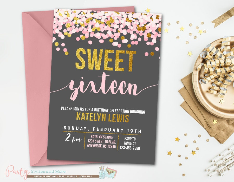 Sweet 16 birthday invitation sweet 16 invitation pink and zoom filmwisefo Image collections