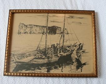 Print of boat scene in Quebec with original frame