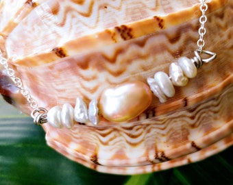 Pearl necklace - Peach pearl - Freshwater pearl - Bridal jewelry - White pearl - Pearl nugget - Beach jewelry - Pearl bar necklace